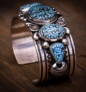 5 Stone Black Web Kingman Turquoise Bracelet