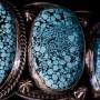 Black web Kingman turquoise bracelet