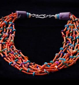 8-Strand Orange Coral Necklace