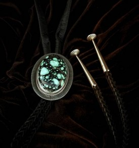 Bolo tie with huge turquoise