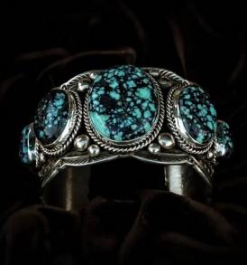 5-stone Spider Web Turquoise Bracelet