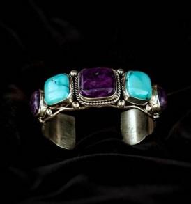 5-stone Turquoise & Sugilite Bracelet
